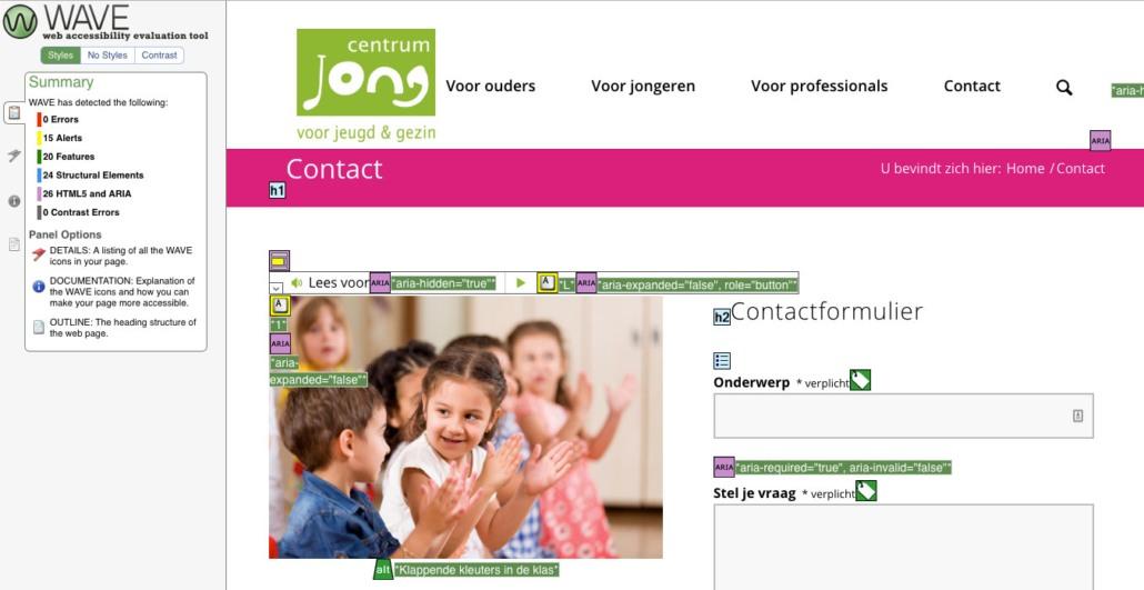 Testrapportage van toegankelijkheid contactpagina