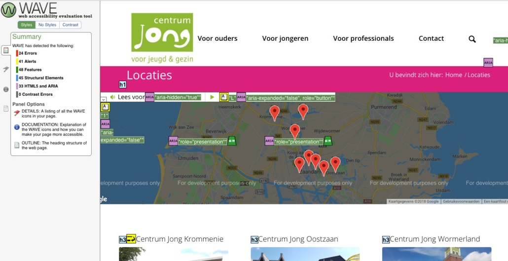 Testrapportage van toegankelijkheid locaties-pagina
